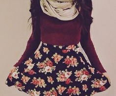 Cute scarves and knit sweater with skater skirt. I like! Teen fashion. Fall fashion