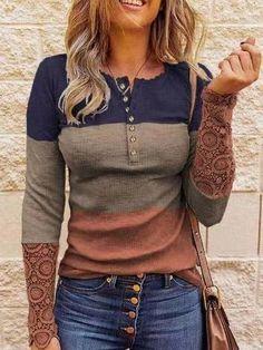 Women T Shirt Casual Stitching Button Long Sleeve T-shirt, Black / XL