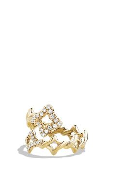 David Yurman 'Venetian Quatrefoil' Ring with Diamonds in 18k Gold available at #Nordstrom
