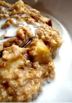 Apple crockpot oatmeal: Place 2 sliced apples, 1 tsp cinnamon, and a pinch of salt at the bottom of a crockpot. Pour in 2 cups of oatmeal, 2 cups if milk, and 2 cups if water. DO NOT STIR! Cook overnight 8-9 hours in low. Enjoy! @Christabelle Clip Lavarro Sweet