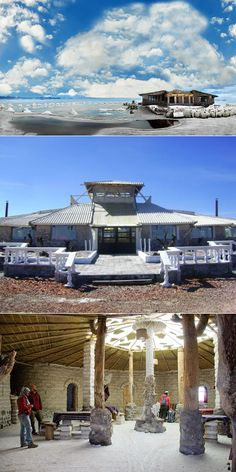 "Palacio de Sal, a 16-room hotel, on the eastern ""shore"" of Bolivia's Uyuni Salt Flats."