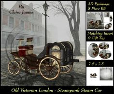 Old London Steampunk Steam Car Oval Pyrimage Insert Tag on Craftsuprint designed by Claire James - 8 piece easy cut design, fast build and effective 3D pyrimage.This design can be used for many different occasions