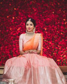 The Most Gorgeous South Indian Lehenga Saree Designs We Spotted! Indian Lehenga, Lehenga Saree Design, Half Saree Lehenga, Lehnga Dress, Bridal Lehenga, Kids Lehenga, Anarkali, Lehenga Designs, Half Saree Designs