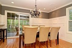 Wainscoting in a dining room   Dining Room Grey/Gray and White Wainscot - traditional - dining room ...