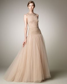 Valentino Tulle Illusion Ball Gown in Beige (nude) | Lyst