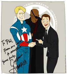 """To Phil, From one hero to another, yours truly, Captain America (love the Nick Fury face-palm) <-- Does no one remember the photo in the tent in Mulan when Mushu and Cricket are """"typing"""" the letter?!"""