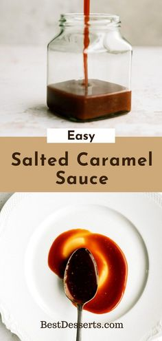 Tired of store-bought Caramel sauce being less than awesome? Try making some yourself with this Easy Salted Caramel Sauce Recipe! Easy step-by-step instructions (with a great FAQ!) will get you the best addition to any dessert! You'll be surprised how well it goes with everything!