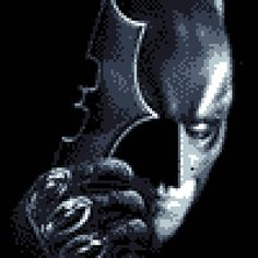 pixel art The Dark Knight hero knight batman face dark avatar movie by cesarloose piq