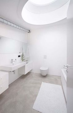 Digital Art Gallery white bathroom with natural concrete floor If we did concrete floor I think we would need to have wood elements or something else to soften the space