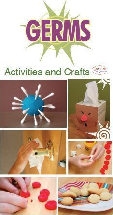 Activities and crafts all about germs! From the Our Time to Learn blog and workbook (About Me). For ages 4-6, preschool, kindergarten, 1st grade, and home school. #homeschoolingfortoddlerslessonplans