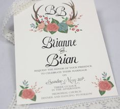 Hand Painted Floral & Deer Antler Wedding by Behold Designz on Etsy.