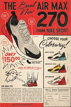 3120507067 r/graphic_design - Made a Air Max 270 poster inspired by old school comic  book ads.
