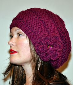 Slouch Beanie Slouchy Hat Flower Crystal Knit Winter Adult Teen Wool CHOOSE COLOR Wild Berry Chunky Gift under 50