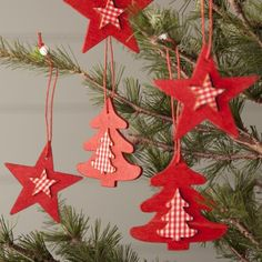 Set of Twelve Red Wood & Gingham Christmas Decorations