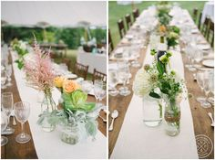 Rustic, chic wedding reception table decor.  Cute jars, beautiful flowers, and beautiful glassware! // Photo by Charleston , SC Wedding Photographers Aaron and Jillian Photography