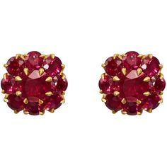 McTeigue & McClelland Women's Berry Cluster Ruby Stud Earrings (€17.070) ❤ liked on Polyvore featuring jewelry, earrings, accessories, gold, 18k jewelry, post earrings, cluster earrings, round stud earrings and 18k earrings