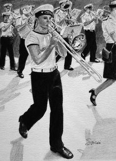- - - - #art #pencil #drawing #artist #pencildrawing #graphitedrawing #realisticart #realism #blackandwhite #illustration #artistsonpinterest #picoftheday #bnwportraits #portraitdrawing #pencilart #graphite #realisticdrawing #musicalinstrument #parade #rhythm #liege #belgique #music Pencil Art, Pencil Drawings, Music, Impressionism, Musica, Musik, Muziek, Music Activities, Songs
