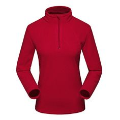 "LANBAOSI Women's Outdoor Mountain Polar Fleece Thermal Henley Pullover 1/4 Zip Jacket wRed Womens L:BUST37"" *** See this great product @ https://www.amazon.com/gp/product/B014R09ZTA/?tag=homeimprtip08-20&pst=210716000526"