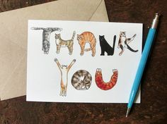"Cats ""Thank you"" greeting card. Perfect card to say Thank you for the cat lover! ・Based on my original illustration and professionally printed in the UK. ・Blank inside for your own message. Thank You Greetings, Thank You Cards, Cat Cards, Greeting Cards, Cool Birthday Cards, Funny Birthday, Karten Diy, Brown Envelopes, Cat Drawing"