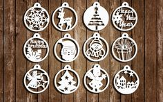 Christmas Papercut Templates, Set of 12, Christmas Decoration, PDF, SVG cutting file, Commercial Use