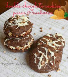 Double Chocolate Cookies with Pecans & Cranberries  @wineladyjo