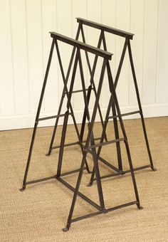 Pair of Vintage Industrial Metal Trestles Desk/Table Base in Antiques, Antique…