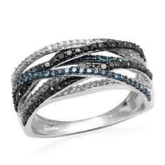 1/2 CT. T.W. Enhanced Black, Blue and White Diamond Layered Orbit Ring in 10K White Gold