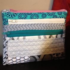Cute 3 zippered pouch ~ by kfourman #WT2H linkup #crafting