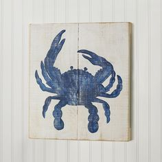 18x16 Crab Wood Wall Painting Wooden planks make the perfect canvas for coastal silhouettes. This crab wall art is handpainted in weathered hues of Navy Blue, Shrimp Pink, or Driftwood Gray on vintage white for a faded beach effec