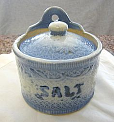 Antique salt box for sale at More Than McCoy on TIAS in the Kitchen Collectibles and Pottery/Stoneware category! Visit my store for hundreds of stoneware items for sale; some antique, vintage or collectible!