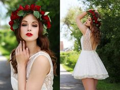 Jones And Jones White Lace Dress, Homemade Flower Crown of red roses