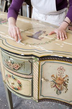 a pair of 17th century northern italian painted commodes with faux marble tops, an 18th century