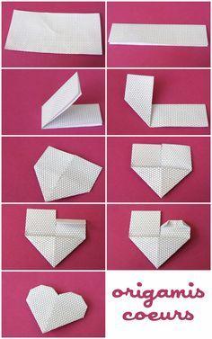 Diy - Origami Cœur pour la Saint Valentin, the feast of the Mère, the Grand-Mères . Origami Ball, Diy Origami, Origami Dog, Origami Simple, Origami Modular, Origami Mouse, Origami Star Box, Origami And Kirigami, Origami Fish