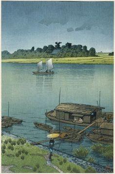Kawase Hasui, Early Summer Rain, Arakawa, Japanese, Showa Era, 1932.