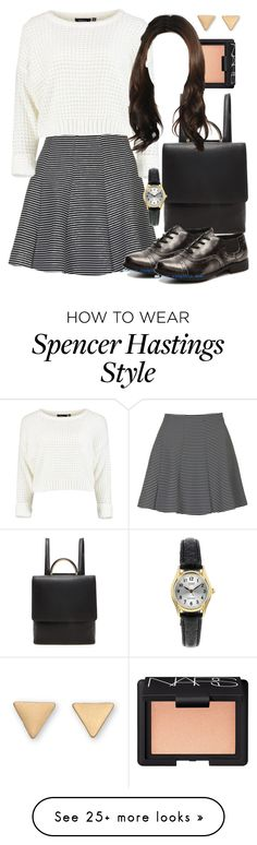 """""""Spencer Hastings inspired outfit with requested shoes"""" by liarsstyle on Polyvore featuring Topshop, Forever 21, NARS Cosmetics, school, college and mid"""