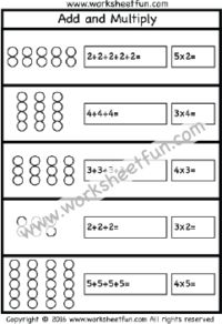 Multiplication – Add and Multiply – Repeated Addition – One Worksheet / FREE Printable Worksheets – Worksheetfun Free Printable Multiplication Worksheets, Multiplication Test, Array Worksheets, Repeated Addition Worksheets, Repeated Addition Multiplication, Math Strategies, Math Classroom, Second Grade, Grade 2