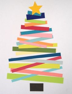 patternprints journal: INSPIRATIONS: CHRISTMAS TREES / 2  Give the kids strips of green and let then glue down to create a tree.