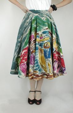 hand painted Mexican skirt.....vintage...