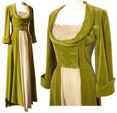 Vintage 40s Dress Lounging Hostess Gown Green Velvet Regency Style. !