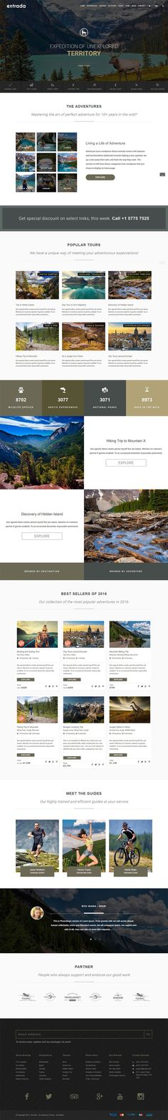 Entrada – the adventure tours and travel WordPress theme is developed with elegance, simplicity and functionality at the heart of the theme.: https://themeforest.net/item/tour-booking-adventure-tour-wordpress-theme-entrada/16867379?ref=rabosch