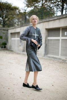 Hanne Gaby Odiele works it off the runway, too. #PFW