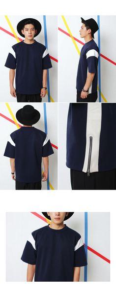 サイドジップショルダーラインTシャツ・全2色