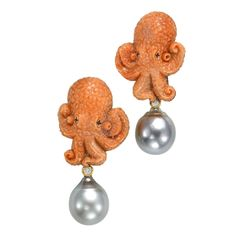1stdibs   Sorab & Roshi Coral Octopus Earrings.....oh my god,those octopus are very very cute!!!