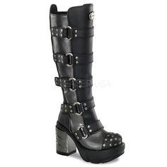 SINISTER-302 - Chrome/Steel Block Heel Platform Knee Boots