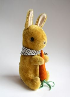 hand dyed yellow mohair rabbit by foxandowl on Etsy Bunny Toys, Bunny Rabbits, Silly Rabbit, Bunny Party, Fabric Toys, Cute Plush, Antique Toys, Diy Doll, Craft Projects