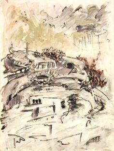 Hill Series: Against the Rain Art Print Painted Hills, Rain Painting, Canadian Art, London Art, Saatchi Art, Contemporary Art, Original Paintings, Ink, Art Prints