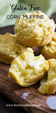 These gluten free cornbread muffins are perfect for dipping. Enjoy with melted butter, you can bake as muffins or in an 8x8 pan for cornbread. fearlessdining Good Gluten Free Bread Recipe, Gluten Free Cornbread, Cornbread Muffins, Gluten Free Muffins, Gluten Free Desserts, Gluten Free Recipes, Muffin Recipes, Bread Recipes, 8x8 Pan