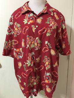 a2ac2380 Mens Red Old Navy Hawaiian Pineapple Hula Girl Button Front Shirt XL  #OldNavy #Hawaiian