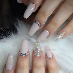 nude nails w/ glitter accent nail + rhinestones (line along nailbed / single) @riyathai87 #nailart #manicure