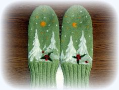 Green  Knitted Wool Mittens for Winter Gift for Her by Indrasideas, $39.00